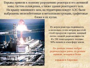 Из жерла реактора поднимался, в несколько сотен метров высотой, столб продуктов
