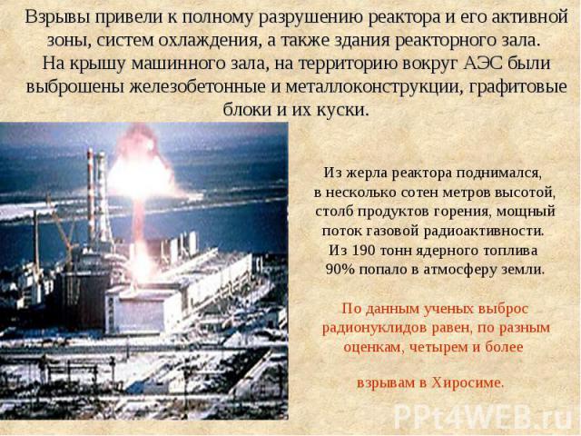 Из жерла реактора поднимался, в несколько сотен метров высотой, столб продуктов горения, мощный поток газовой радиоактивности. Из 190 тонн ядерного топлива 90% попало в атмосферу земли. По данным ученых выброс радионуклидов равен, по разным оценкам,…