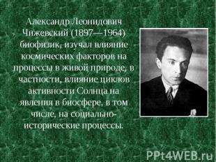 Александр Леонидович Чижевский (1897—1964) биофизик, изучал влияние космических