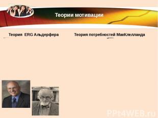 Теории мотивации Теория ERG Альдерфера