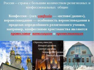 Россия – страна с большим количеством религиозных и конфессиональных общин Конфе
