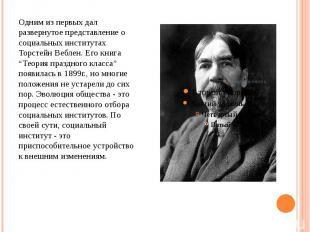 Одним из первых дал развернутое представление о социальных институтах Торстейн В