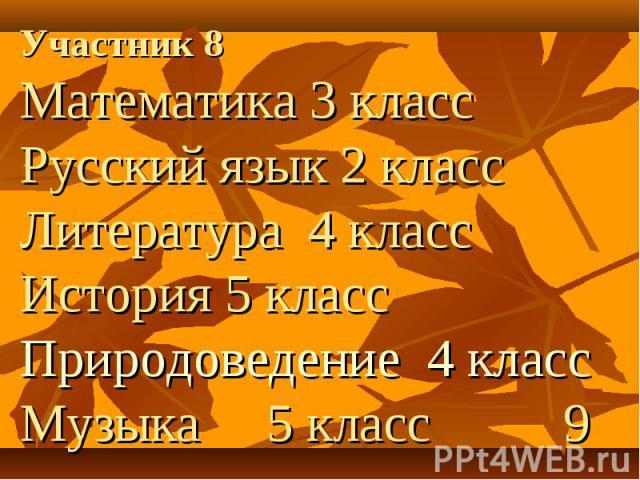 Участник 8 Участник 8 Математика 3 класс Русский язык 2 класс Литература 4 класс История 5 класс Природоведение 4 класс Музыка 5 класс 9