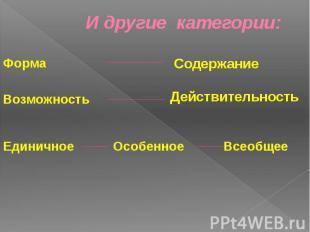 И другие категории: Форма Возможность