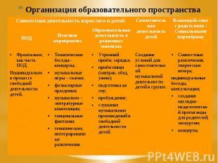 Организация образовательного пространства