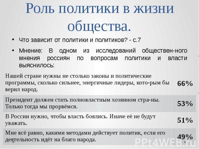 Роль политики в жизни общества. Что зависит от политики и политиков? - с.7 Мнение: В одном из исследований обществен-ного мнения россиян по вопросам политики и власти выяснилось: