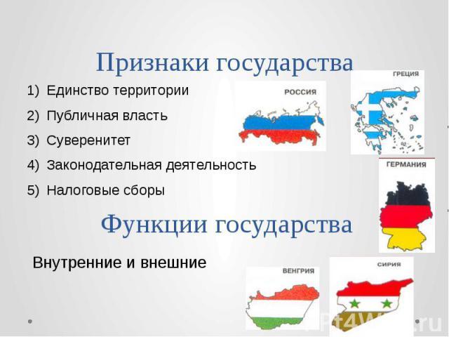 Признаки государства Единство территории Публичная власть Суверенитет Законодательная деятельность Налоговые сборы