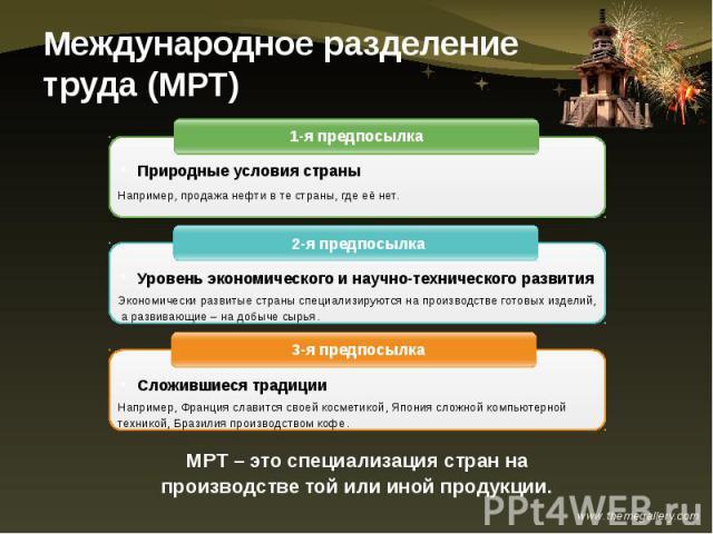 Международное разделение труда (МРТ)