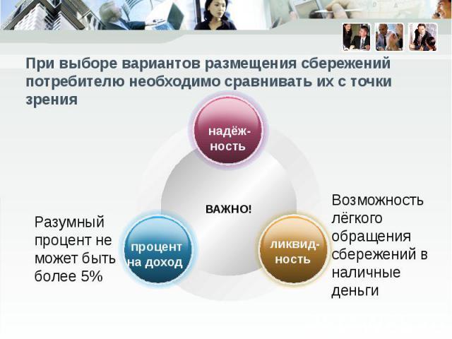 При выборе вариантов размещения сбережений потребителю необходимо сравнивать их с точки зрения