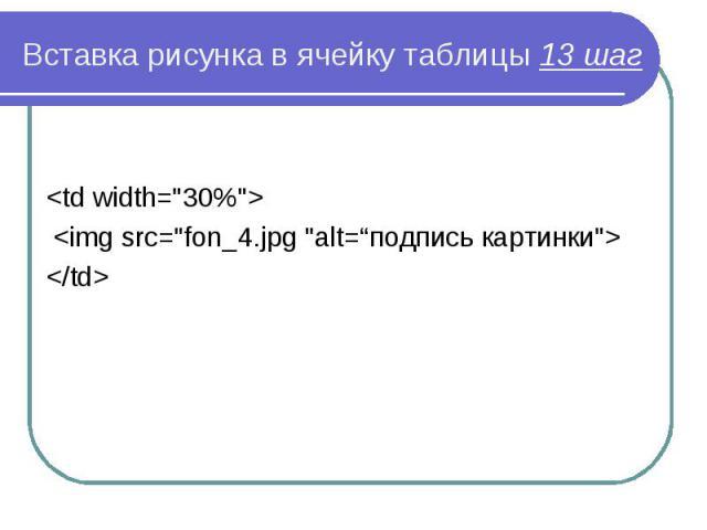 """<td width=""""30%""""> <td width=""""30%""""> <img src=""""fon_4.jpg """"alt=""""подпись картинки""""> </td>"""