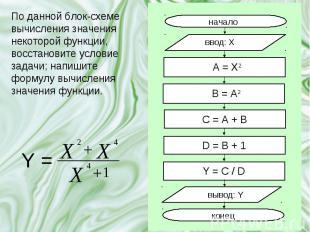 По данной блок-схеме вычисления значения некоторой функции, восстановите условие