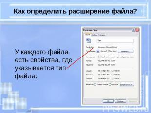 У каждого файла есть свойства, где указывается тип файла: У каждого файла есть с