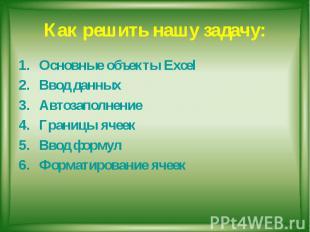 Основные объекты Excel Основные объекты Excel Ввод данных Автозаполнение Границы