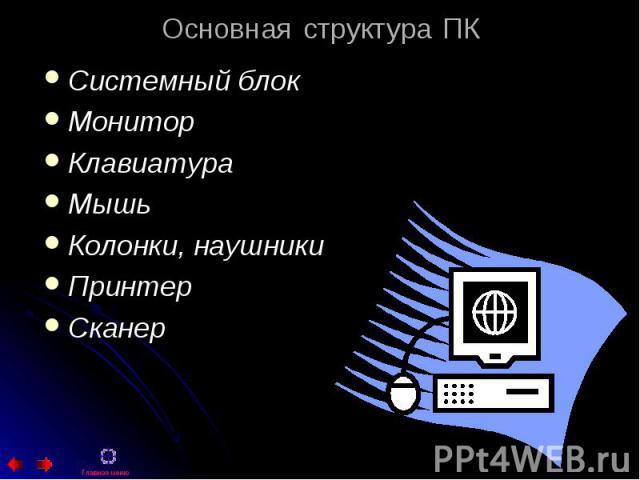 Системный блок Системный блок Монитор Клавиатура Мышь Колонки, наушники Принтер Сканер