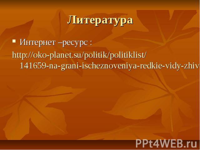 Литература Интернет –ресурс : http://oko-planet.su/politik/politiklist/141659-na-grani-ischeznoveniya-redkie-vidy-zhivotnyh-inosmi-rossiya-foto.html