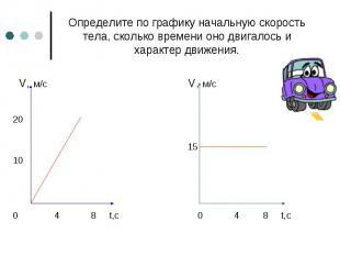 Определите по графику начальную скорость тела, сколько времени оно двигалось и х
