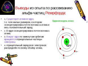Выводы из опыта по рассеиванию альфа-частиц Резерфорда: 1. Существует атомное яд