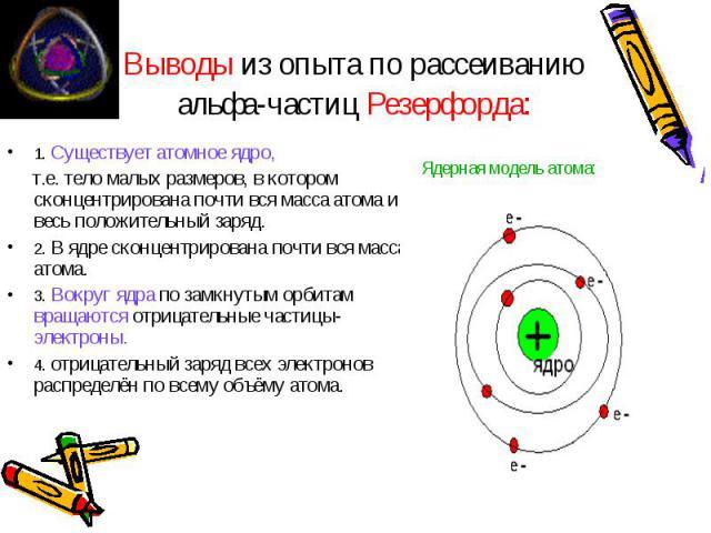 Выводы из опыта по рассеиванию альфа-частиц Резерфорда: 1. Существует атомное ядро, т.е. тело малых размеров, в котором сконцентрирована почти вся масса атома и весь положительный заряд. 2. В ядре сконцентрирована почти вся масса атома. 3. Вокруг яд…