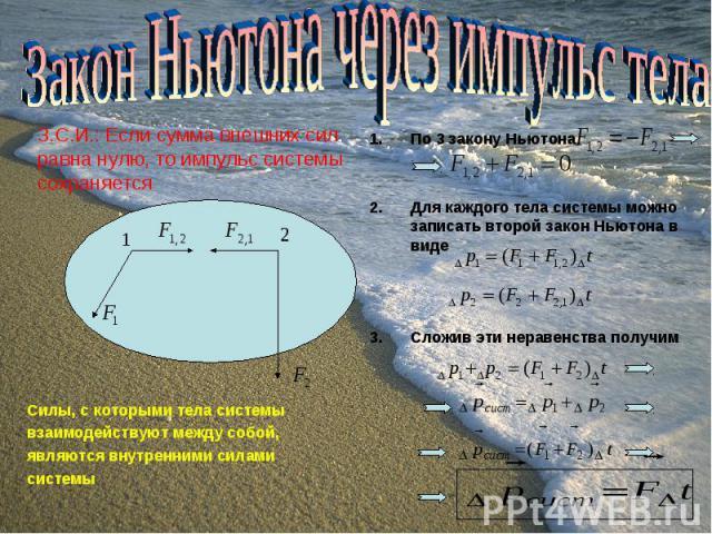 По 3 закону Ньютона По 3 закону Ньютона Для каждого тела системы можно записать второй закон Ньютона в виде Сложив эти неравенства получим