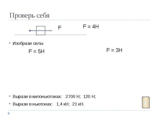 Проверь себя Изобрази силы Вырази в килоньютонах: 2700 Н; 120 Н; Вырази в ньютонах: 1,4 кН; 21 кН.