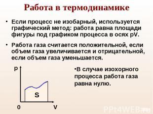 Если процесс не изобарный, используется графический метод: работа равна площади