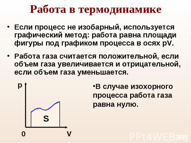 Если процесс не изобарный, используется графический метод: работа равна площади фигуры под графиком процесса в осях pV. Если процесс не изобарный, используется графический метод: работа равна площади фигуры под графиком процесса в осях pV. Работа га…