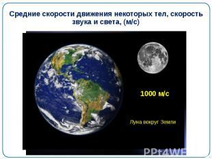 Средние скорости движения некоторых тел, скорость звука и света, (м/с)