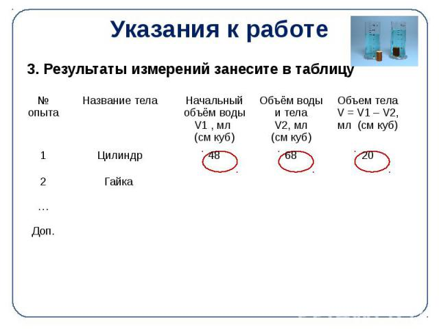 Указания к работе 3. Результаты измерений занесите в таблицу