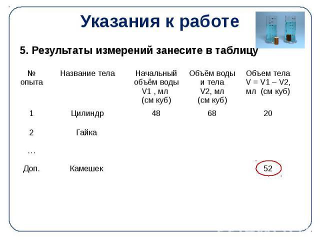 Указания к работе 5. Результаты измерений занесите в таблицу