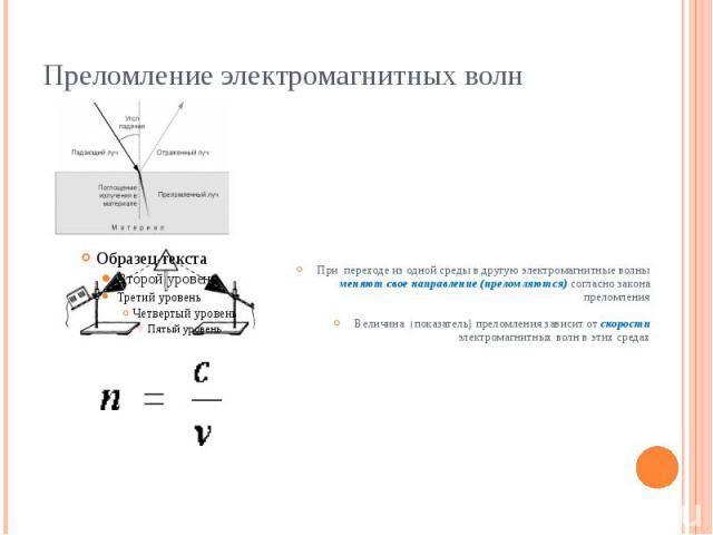 Преломление электромагнитных волн При переходе из одной среды в другую электромагнитные волны меняют свое направление (преломляются) согласно закона преломления Величина (показатель) преломления зависит от скорости электромагнитных волн в этих средах