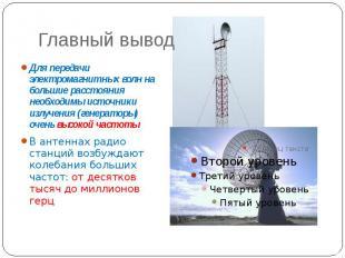 Главный вывод Для передачи электромагнитных волн на большие расстояния необходим