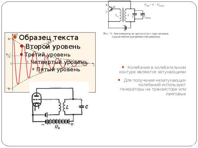 Колебания в колебательном контуре являются затухающими Для получения незатухающих колебаний используют генераторы на транзисторе или ламповые