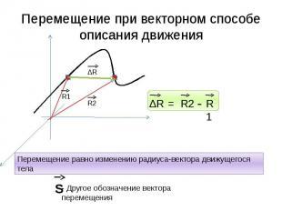 Перемещение при векторном способе описания движения