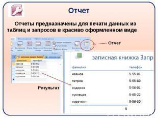 Отчет Отчеты предназначены для печати данных из таблиц и запросов в красиво офор