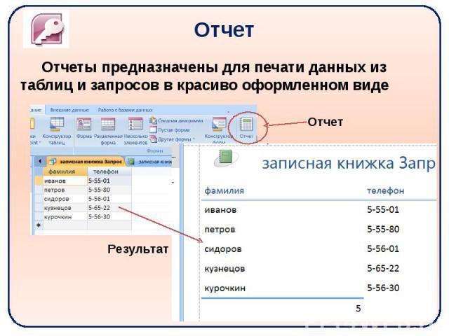 Отчет Отчеты предназначены для печати данных из таблиц и запросов в красиво оформленном виде