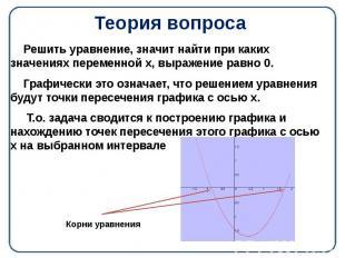 Теория вопроса Решить уравнение, значит найти при каких значениях переменной х,