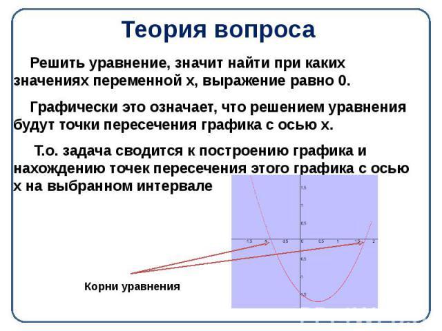 Теория вопроса Решить уравнение, значит найти при каких значениях переменной х, выражение равно 0. Графически это означает, что решением уравнения будут точки пересечения графика с осью х. Т.о. задача сводится к построению графика и нахождению точек…