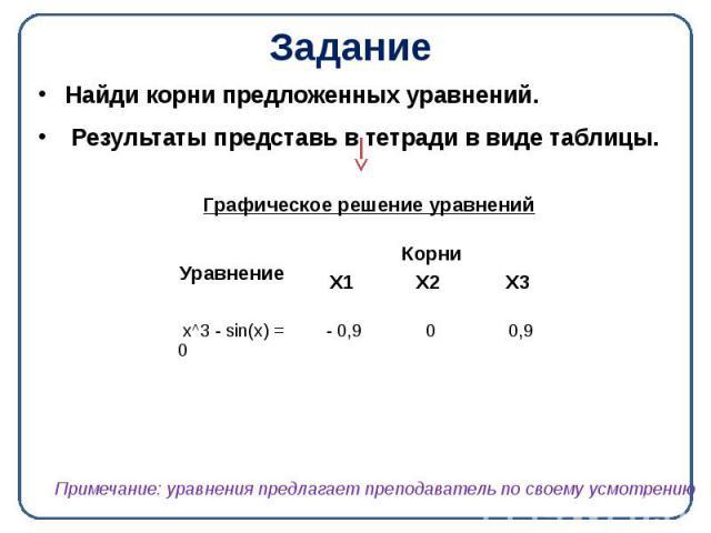 Задание Найди корни предложенных уравнений. Результаты представь в тетради в виде таблицы.