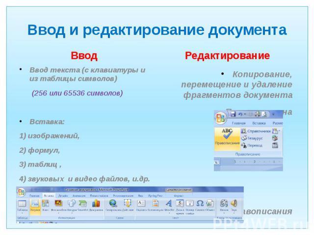 Ввод и редактирование документа Ввод