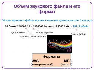 Объем звукового файла и его формат