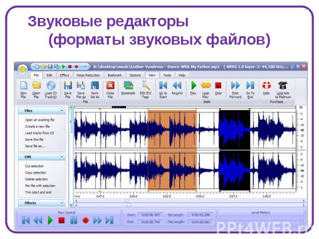 Звуковые редакторы (форматы звуковых файлов)