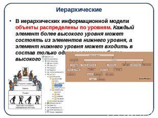 Иерархические В иерархических информационной модели объекты распределены по уров
