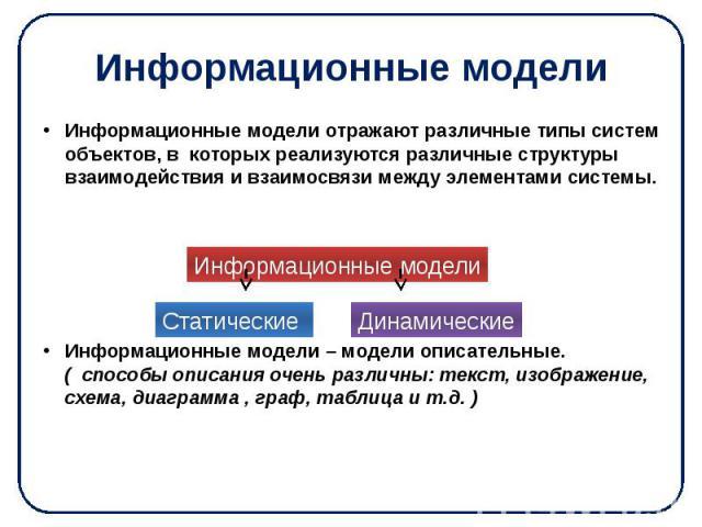 Информационные модели Информационные модели отражают различные типы систем объектов, в которых реализуются различные структуры взаимодействия и взаимосвязи между элементами системы. Информационные модели – модели описательные. ( способы описания оче…
