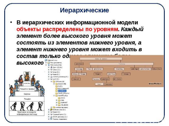 Иерархические В иерархических информационной модели объекты распределены по уровням. Каждый элемент более высокого уровня может состоять из элементов нижнего уровня, а элемент нижнего уровня может входить в состав только одного элемента более высоко…