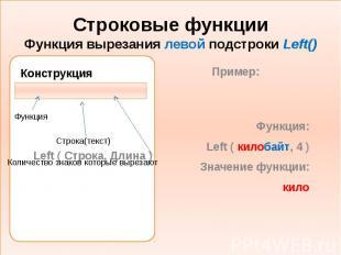 Строковые функции Функция вырезания левой подстроки Left() Конструкция