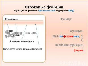 Строковые функции Функция вырезания произвольной подстроки Mid() Конструкция:
