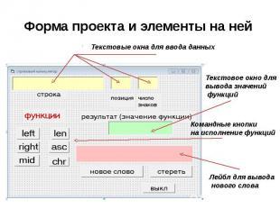 Форма проекта и элементы на ней