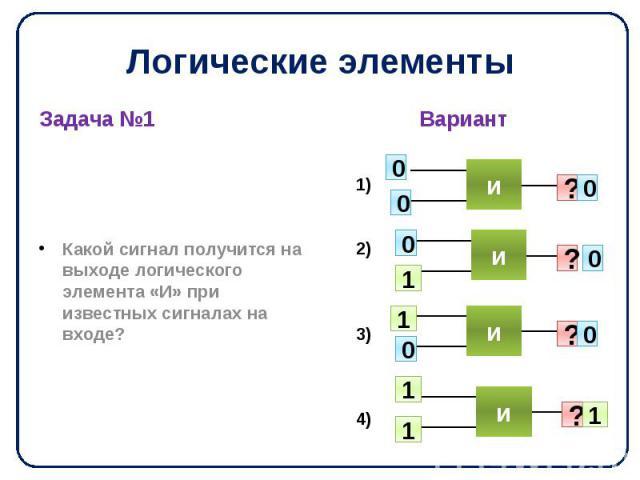 Логические элементы Задача №1