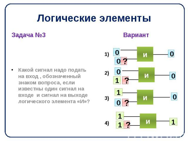 Логические элементы Задача №3