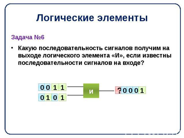 Логические элементы Задача №6 Какую последовательность сигналов получим на выходе логического элемента «И», если известны последовательности сигналов на входе?